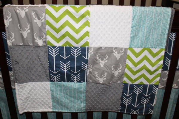 Boy Crib Bedding - Gray Buck, Navy Arrow, Lime Chevron, Aqua Herringbone, and Gray