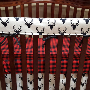 Buck Deer Baby Crib Rail Guard Cover - Navy, Gray, White with Black, Blush, Coral, White with Silver, or Mint