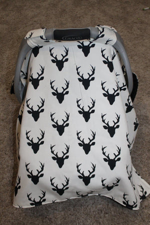 Carseat Tent - Black Buck Baby Carseat Canopy, Tent, Woodland, Buffalo Check