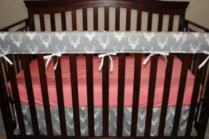 Gray Buck, Gray Arrow, and Coral Crib Baby Bedding Ensemble