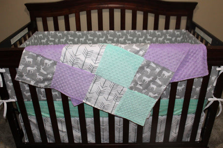 White Gray Arrows, Gray Deer, Lilac, and Mint Crib Bedding Ensemble with Blanket or Patchwork Blanket