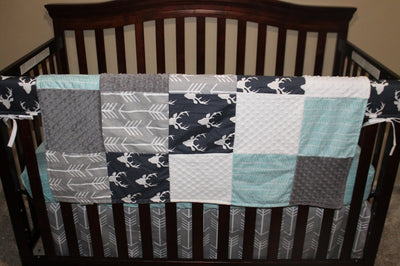 Quick Ship Boy Crib Bedding - Navy Buck, Gray Arrow, and Herringbone Woodland Collection