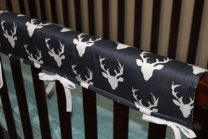 2 Day Ship Boy Crib Bedding - Navy Buck, Gray Arrow, and Aqua Herringbone, Woodland Crib Bedding