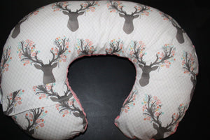 Nursing Pillow Cover - Tulip Fawn and Minky Boppy Cover - Girl, Stag, Fawn, Flowers