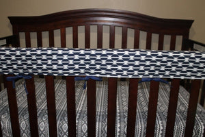 Baby Crib Rail Guard Cover - Navy Tomahawk, Western, Tribal - Quick Ship