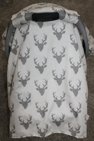 Carseat Tent -White with Gray Buck Baby Carseat Canopy, Tent, Deer, Antler