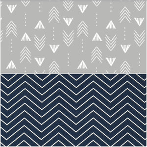 Reversible Crib Rail Guard - Gray Weathervanes and Navy Pinstripe Chevron
