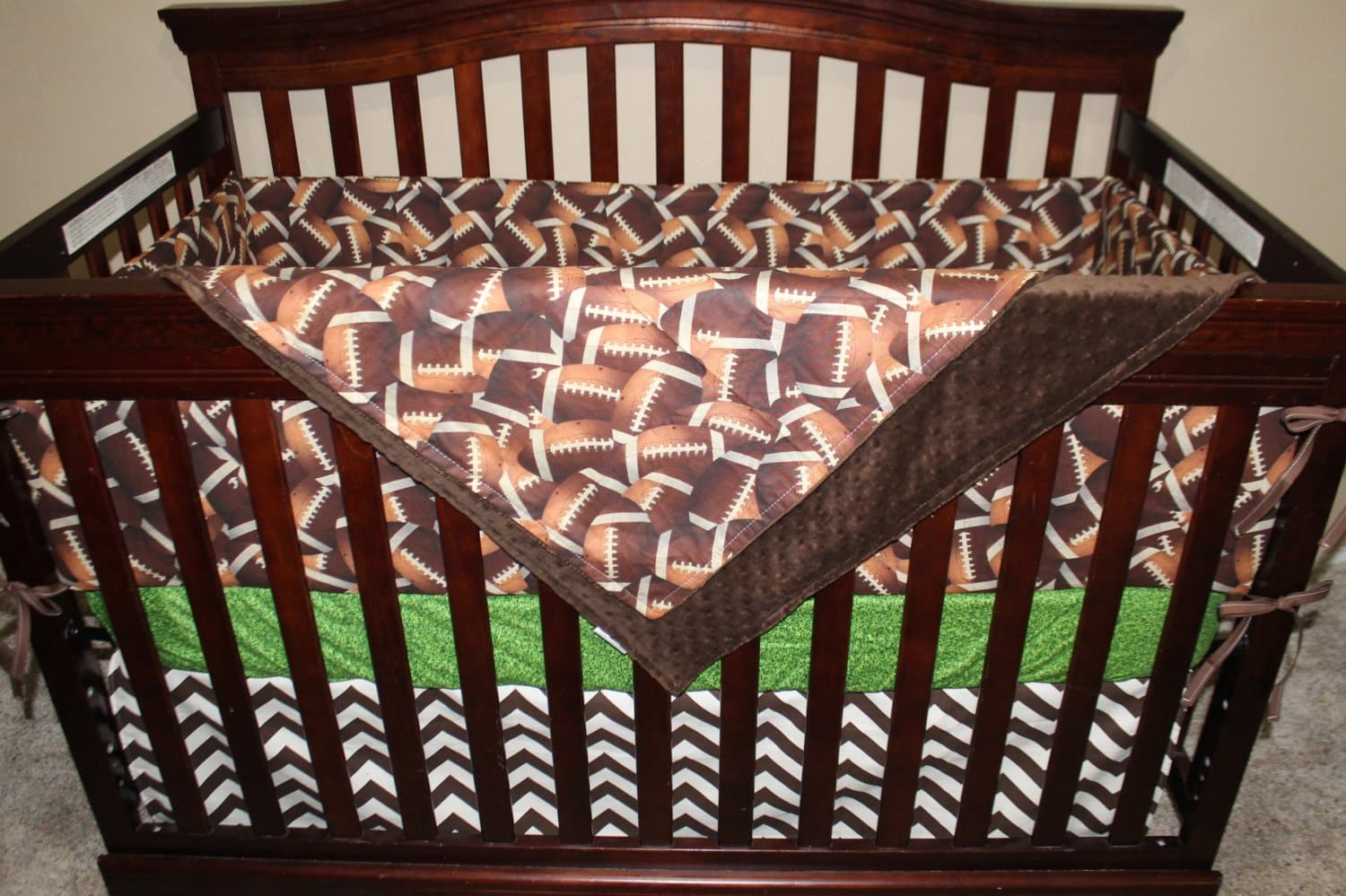 Ready to Ship Boy Crib Bedding - Footballs, Touch Down Field, and Brown Chevron, Football Nursery Set