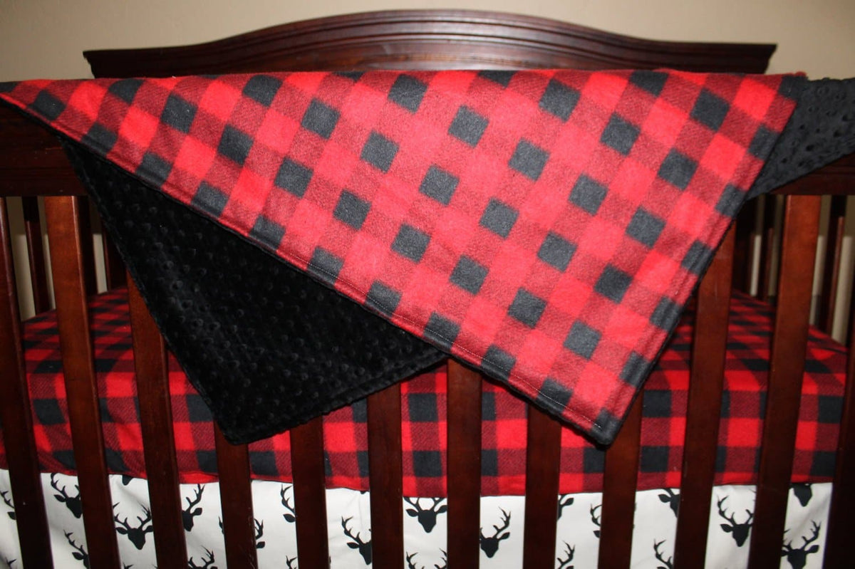 Standard Blanket-Mountain Lodge Red Black Buffalo Check and Minky Blanket- Hunting, Lodge, Plaid