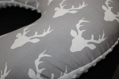 Deer Nursing Pillow Cover - Gray Buck and Minky Boppy Cover