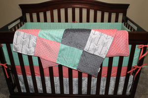 Baby Girl Crib Bedding - White Gray Arrows, Mint Herringbone, Coral, and Gray Crib Bedding Ensemble with Blanket or Patchwork Blanket