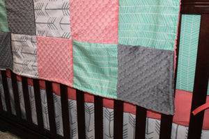 Ready to Ship Girl Crib Bedding - White Gray Arrows, Mint Herringbone, Coral, and Gray, Arrow Nursery Set
