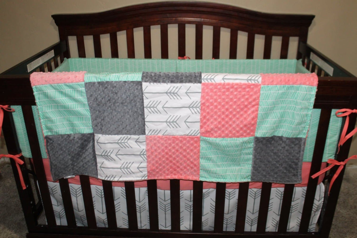 Quick Ship Girl Crib Bedding - Arrows, Mint Herringbone, Coral, and Gray, Arrow Woodland Collection
