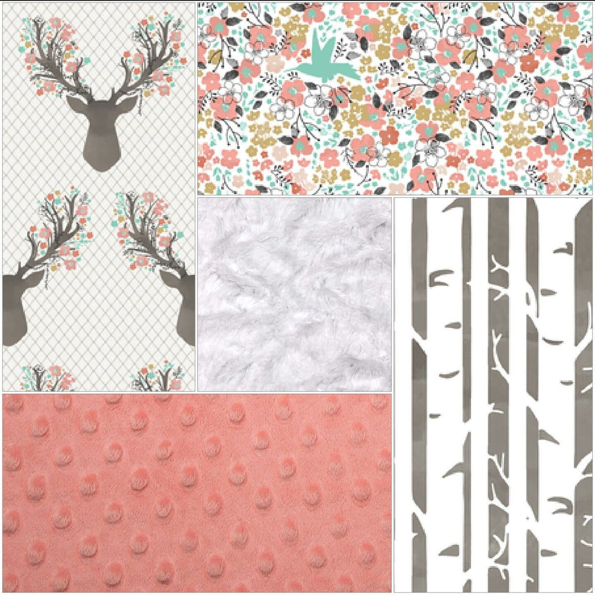 Ready to Ship Girl Crib Bedding - Tulip Fawn, Meadow Flowers, Pebble Birch, and Coral, Floral Deer Crib Bedding