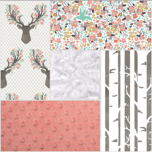 Custom Girl Crib Bedding - Tulip Fawn, Meadow Flowers, Pebble Birch, and Coral, Floral Deer Nursery Set