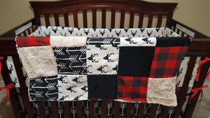 Blanket - Black Buck, Lodge Red Buffalo Check, Black Arrow, Black Minky, and Ivory Crushed Minky Patchwork Blanket