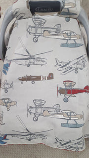 Baby Carseat Tent - Vintage Airplane Pewter Carseat Canopy