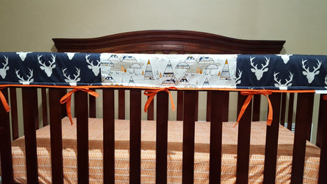 Buck Baby Crib Rail Guard Cover- Deluxe Buck and Indian Summer Rail Guard