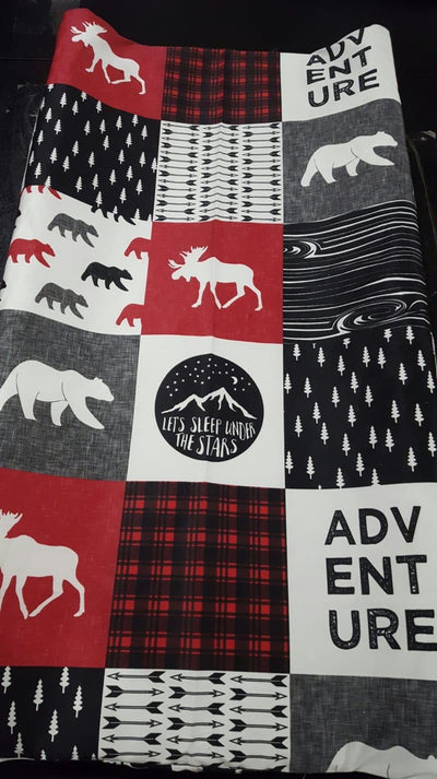 Ready to Ship Boy Crib Bedding - Adventure, Bear, Red Black Check, and Mountains, Adventure Crib Bedding