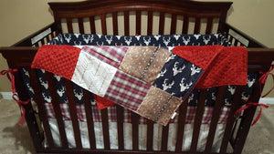 Ready to Ship- Navy buck, red navy plaid, and white tan arrow crib bedding