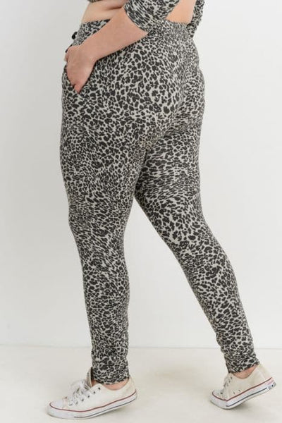 Plus Size Sweatpants- Cheetah in Gray