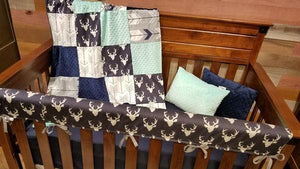 Ready to Ship Boy Crib Bedding- Navy Buck, Fletching Arrow, White Gray Arrow, Mint, and Navy,Woodland Crib Bedding