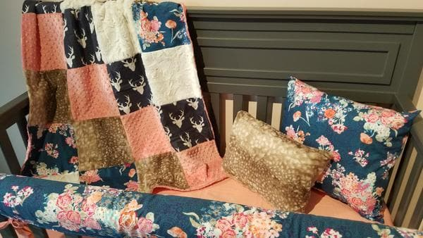 Ready to Ship Girl Crib Bedding - Floral and Woodland Collection