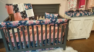 Ready to Ship Girl Crib Bedding - Navy Buck, Navy Coral Floral, Fawn Minky, Coral Minky, and Ivory Crushed Minky, Floral Nursery Set