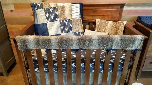 2 Day Ship Boy Crib Bedding - Navy Buck, Arrow, Trout, Fawn Minky, and Navy, Hunting and Fishing Crib Bedding