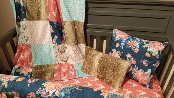 Ready to Ship Girl Crib Bedding - Floral, Buck, Fawn Minky, Floral Collection