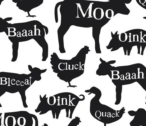 Cart Cover- Farm Animals with words Highchair/Cart Cover