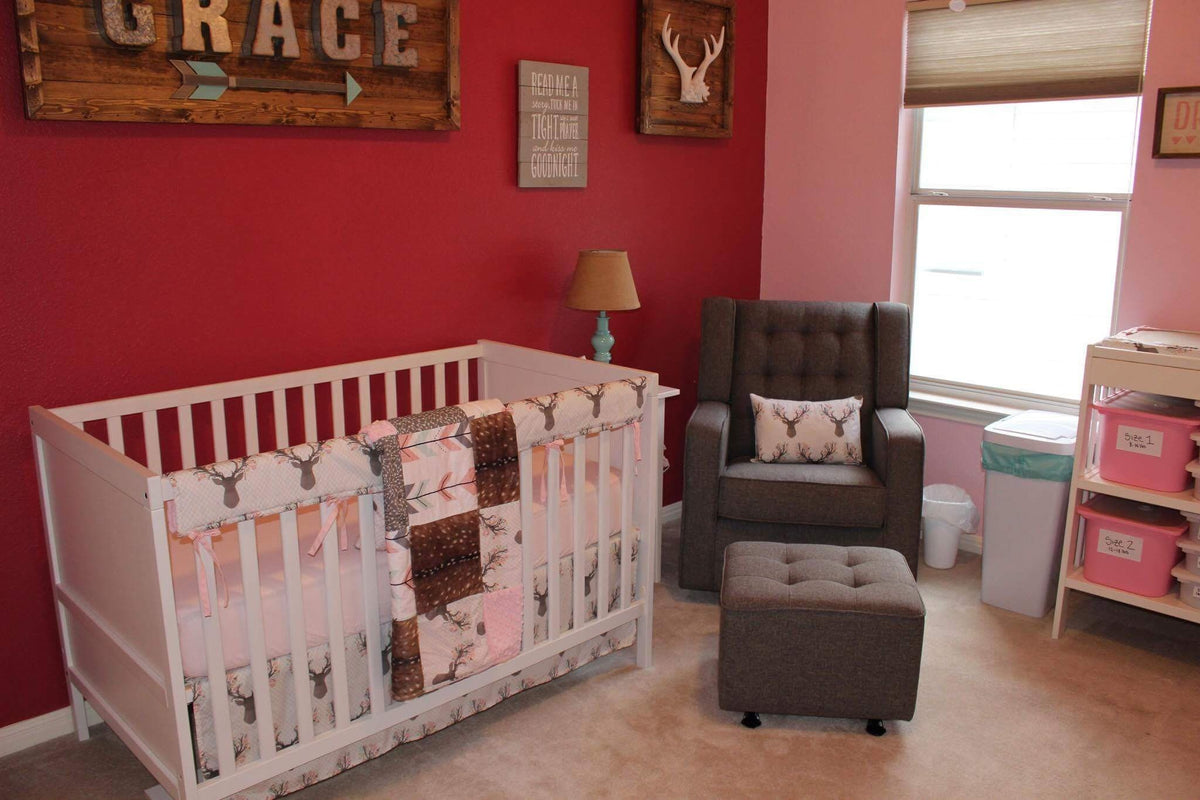 Custom Girl Crib Bedding - Deer, Blush, Deer Skin Minky Woodland Collection