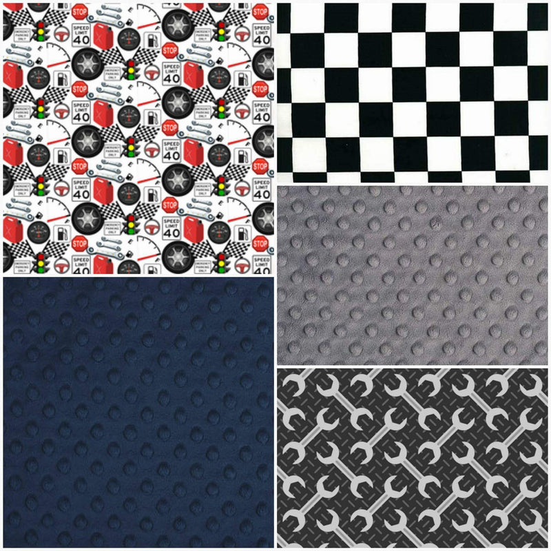 Custom Boy Crib Bedding - Mechanic, Tools, Race Flag Check, Garage Collection