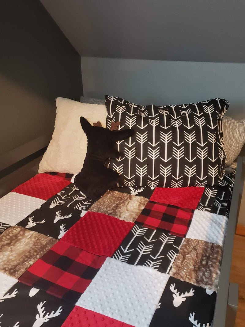 Twin, Full, or Queen Patchwork Blanket - Buck, Red Black Check, Woodland