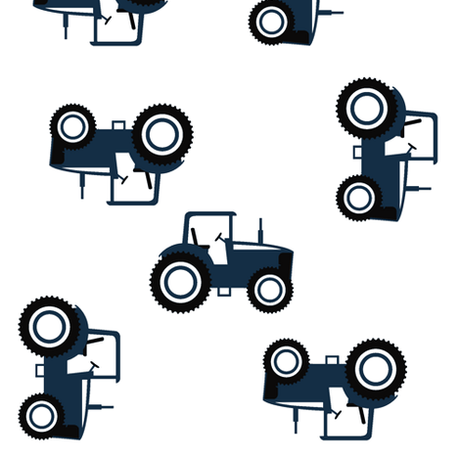 Crib Rail Guard Cover - Navy Tossed Tractors with navy ties