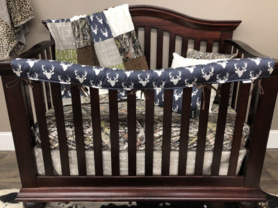 Custom Boy Crib Bedding - Buck, Fish Hooks, and Camo Nursery Collection