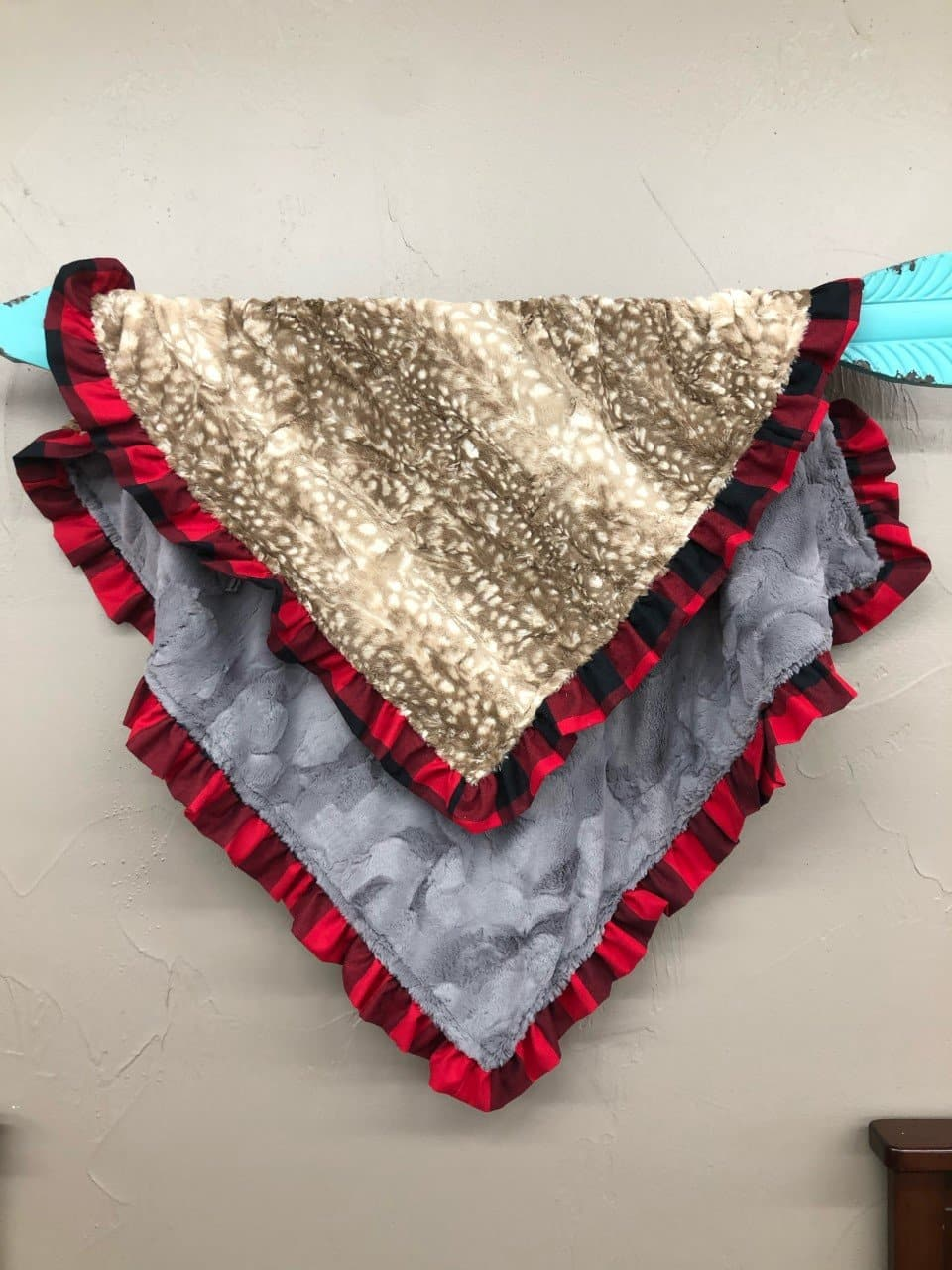 Ruffle Blanket -*1 Name Embroidered Free*Fawn minky and Gray Hide minky with red black check ruffle