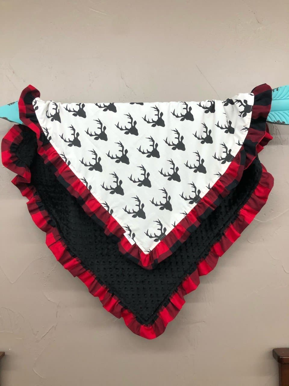 Ruffle Blanket - *1 Name Embroidered Free* Black buck and black minky with red black check ruffle