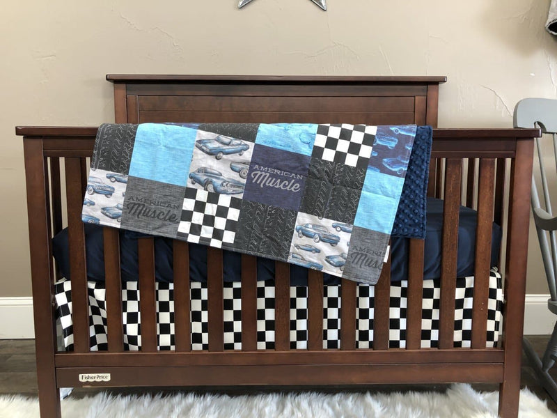 Custom Boy Crib Bedding - Muscle Cars and Race Flag Check Nursery Collection