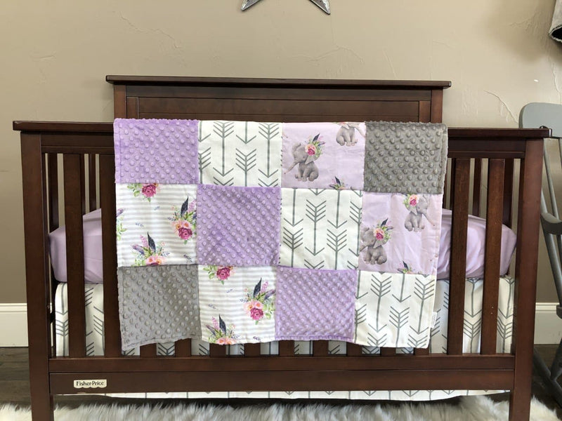 New Design Custom Girl Crib Bedding - Elephants, Flowers, Lilac, Elephant Crib Bedding