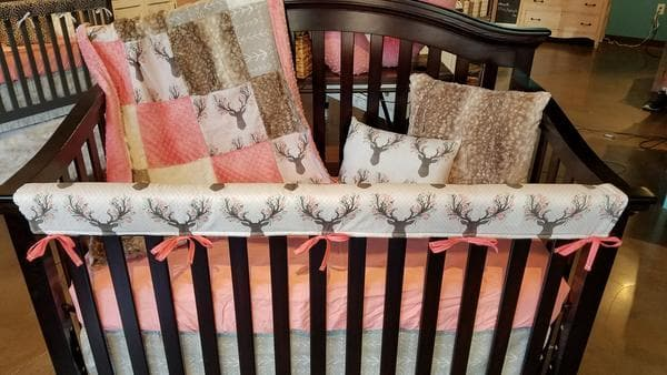 Ready to Ship Girl Crib Bedding - Tulip Fawn, Fawn Minky, Ecru Tribal Arrow, Ivory Crushed Minky and Coral, Baby Woodland Nursery Collection