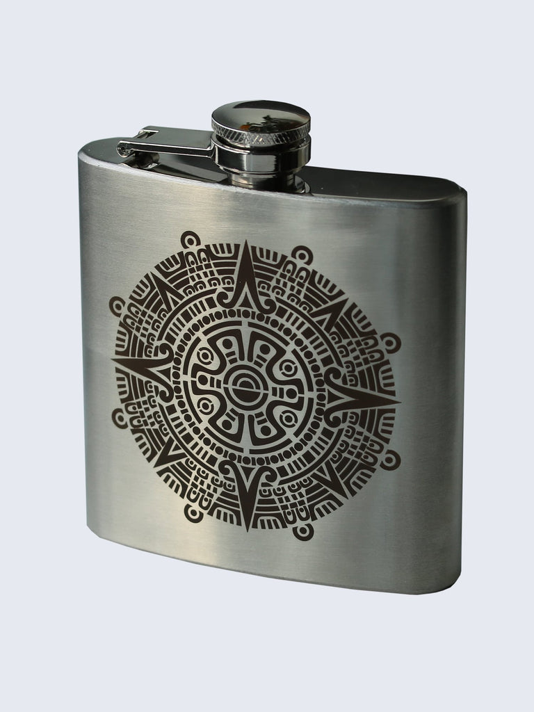Tribal Aztec Design Laser Engraved Stainless Steel 6oz Hip Flask