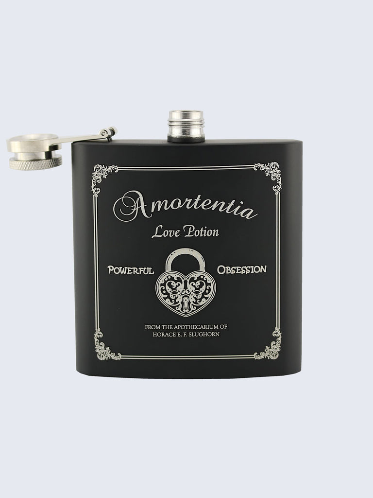 Amortentia Love Potion Harry Potter Inspired Design Laser Engraved Black Stainless Steel 6oz Hip Flask