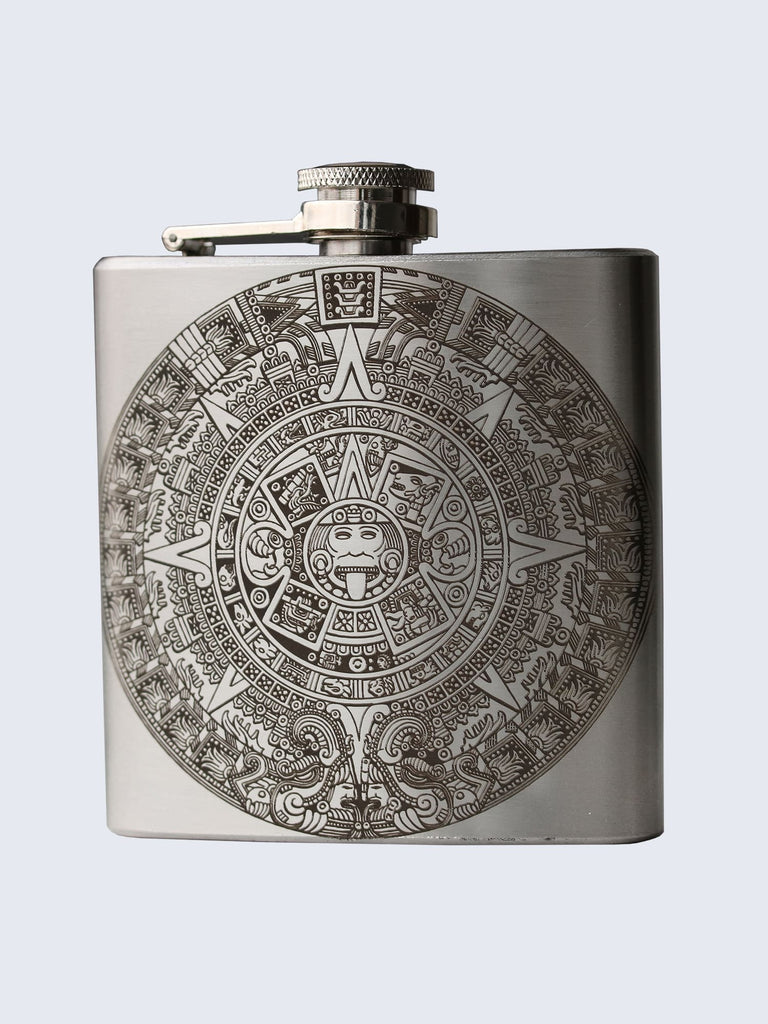 Aztec Design Laser Engraved Stainless Steel 6oz Hip Flask