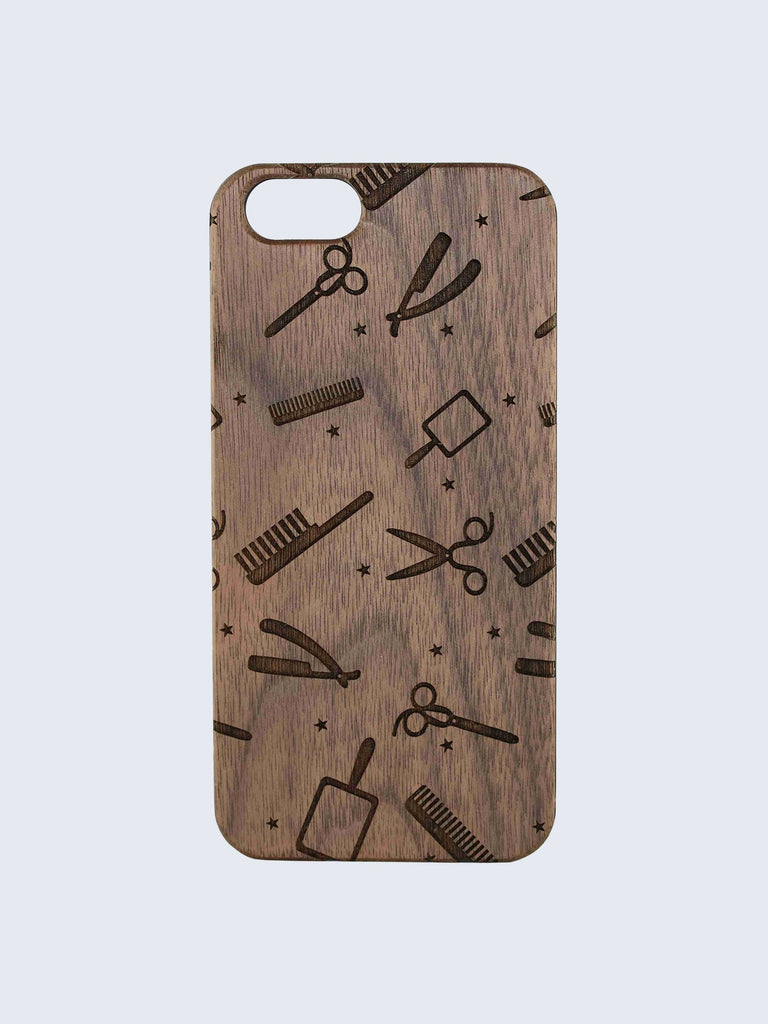 Barber Pattern Laser Engraved Wooden iPhone Case