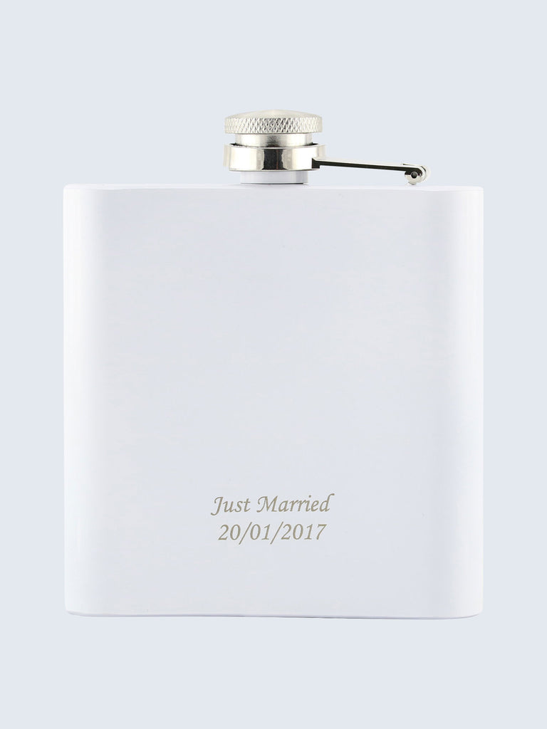 Bride Wedding Laser Engraved Black Stainless Steel 6oz Hip Flask