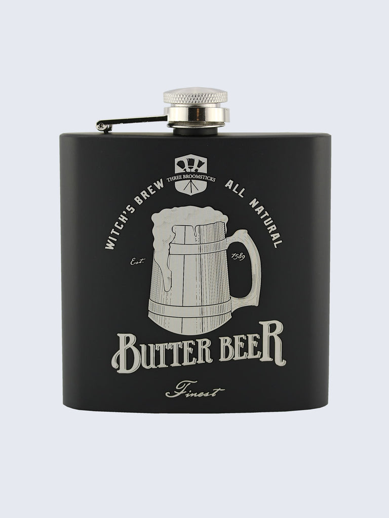 ButterBeer Harry Potter Inspired Design Laser Engraved Black Stainless Steel 6oz Hip Flask