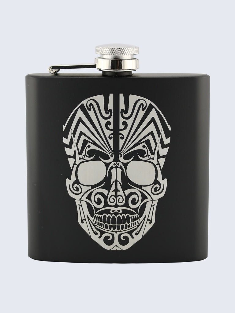Candy Skull Design Laser Engraved Black Stainless Steel 6oz Hip Flask