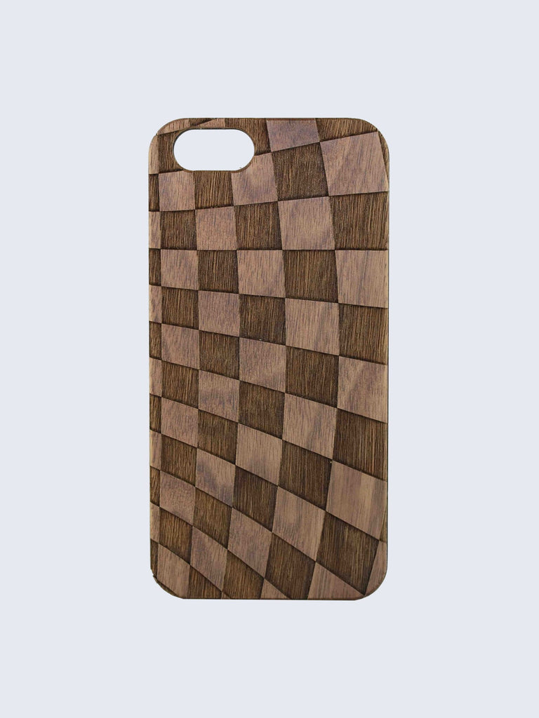 Checkers Pattern Laser Engraved Wooden iPhone Case