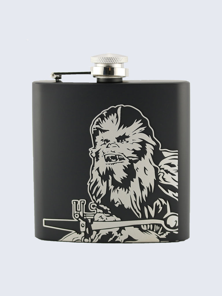 Chewbacca Star Wars Inspired Design Laser Engraved Black Stainless Steel 6oz Hip Flask